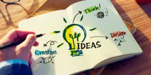 Zeichenblock mit Ideen eines Graphikdesigners
